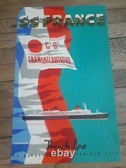 Affiche. SS FRANCE FRENCH LINE. C G. TRANSATLANTIQUE. J JACQUELIN 1970