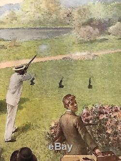 Affiche Société Française des Munitions Entoilée Tir aux pigeons artificiels EO