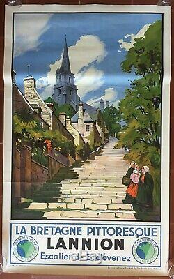 Affiche Tourisme LANNION Bretagne Pittoresque SNCF Train TOUSSAINT 62x100cm 1930