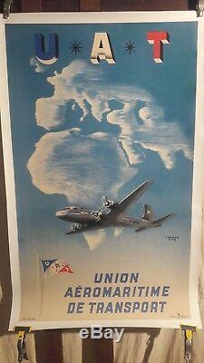 Affiche Uat Avion Dc4 Litho Annees 1954