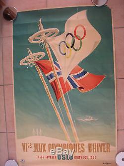 Affiche VI eme JEUX OLYMPIQUES d HIVER OSLO 1952