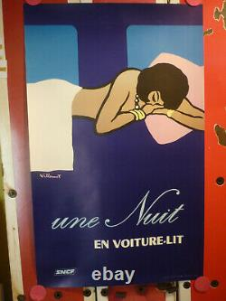 Affiche Villemot SNCF 1973 nuit en voiture lit originale