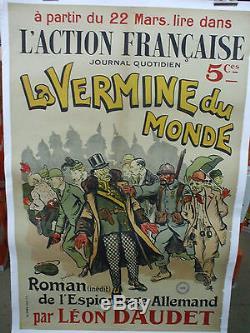 Affiche action française vermine du monde anti juifs franc-maçon allemand 1916