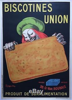 Affiche ancienne BISCOTINES UNION Biscotte Petit déjeuner CAPPIELLO Entoilé 1910