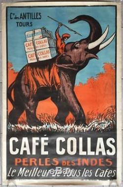 Affiche ancienne CAFE COLLAS Perle des Indes Le Meilleur des Cafés Litho 1927