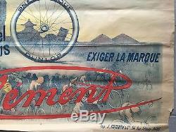 Affiche ancienne CYCLES CLEMENT Rue Brunel Paris COQ Bike VELO Original 1900