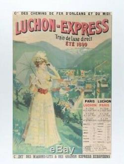 Affiche ancienne Compagnie des Wagons-Lits Train Luchon-Express 1899