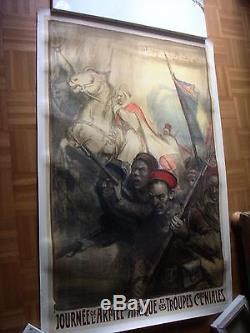 Affiche ancienne Journée d Afrique troupes Coloniales Fouqueray