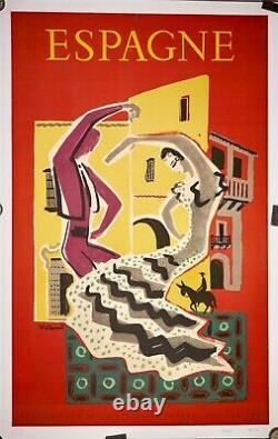 Affiche ancienne Lithographique entoilée ESPAGNE par VILLEMOT c50