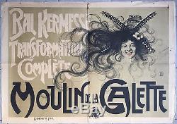 Affiche ancienne MOULIN DE LA GALETTE Bal Kermesse. YONIS Montmartre 1900