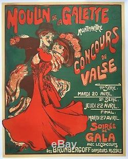 Affiche ancienne MOULIN DE LA GALETTE Concours de Valse MONTMARTRE Entoilée 1900