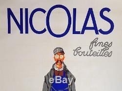 Affiche ancienne NICOLAS Fines Bouteilles Nectar Livreur Poyet d'après DRANSY