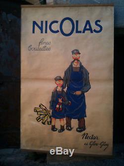 Affiche ancienne NICOLAS Nectar et Glouglou Poyet d'après DRANSY