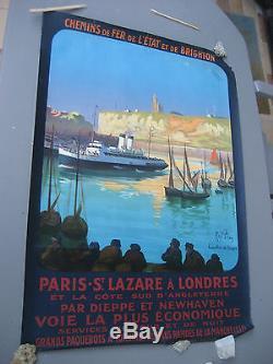 Affiche ancienne(Originale) Chemin de fer de l'Etat et de Brighton-Signée Pean. R