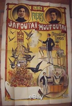 Affiche ancienne Originale Prestidigitateur Chinois Matoufai 1920 Damaré cirque