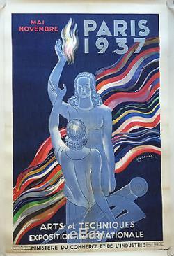 Affiche ancienne PARIS 1937 Exposition Arts Techniques CAPPIELLO Entoilée