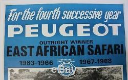 Affiche ancienne PEUGEOT 404 EAST AFRICAN SAFARI 1963 1968 pilotes Nowicki Cliff
