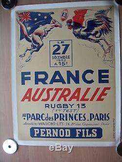 Affiche ancienne RUGBY france / Australie Parc des Princes 1952 Ordner
