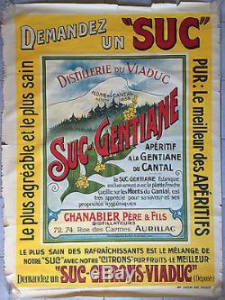 Affiche ancienne SUC-GENTIANE CHANABIER Apéritif Aurillac Cantal Auvergne 1910