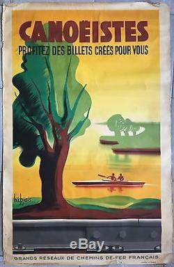 Affiche ancienne Tourisme CANOEISTES SNCF Train Canoe-Kayak HENRI BIAIS 1937