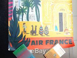 Affiche ancienne VILLEMOT Air France Amérique du Sud 1958