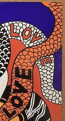 Affiche ancienne Yves Saint Laurent Love 1973 Serpent Nu Féminin Arabesques