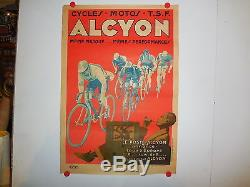 Affiche ancienne cycle moto Alcyon TSF course cyclsite art deco fumeur pipe