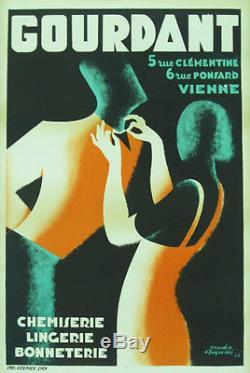 Affiche ancienne de 1933 entoilée GOURDANT à VIENNE