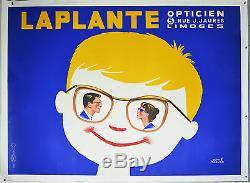 Affiche ancienne entoilée LAPLANTE Opticien Par Hervé MORVAN
