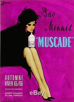 Affiche ancienne entoilée Bas minuit Muscade par COURONNE Années 60