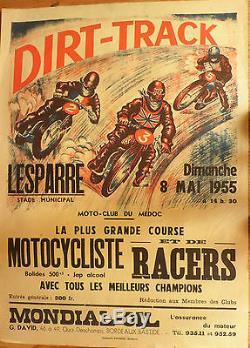 Affiche ancienne moto dirt-track LESPARRE (33) 1955