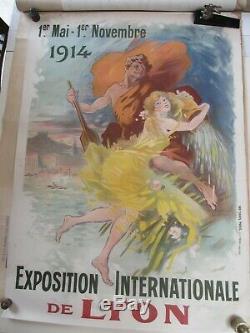 Affiche ancienne, originale, 1914-1920, Exposition Internationale de LYON 1914