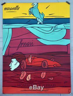 Affiche ancienne originale 1987 ADAMI- Hommage à FERRARI