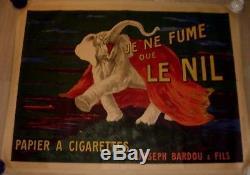 Affiche ancienne originale Cappiello Je ne fume que le nil Vercasson entoilée