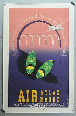 Affiche ancienne originale entoilée. AIR ATLAS MAROC Années 60 99 X 60 CM
