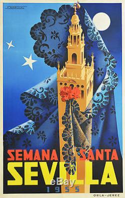 Affiche ancienne originale entoilée -Semana santa en SEVILLA 1955 Espagne