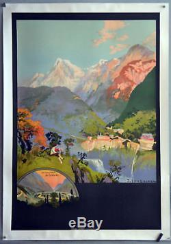 Affiche ancienne originale entoilée Vue sur la vallée d' OSSAU Années 1920