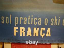 Affiche ancienne originale ski en France Dubois vers 1950 en portuguais