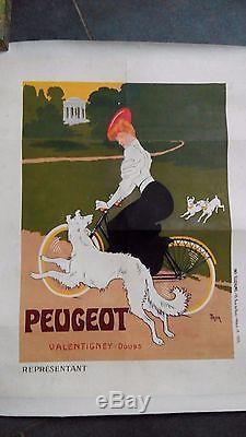Affiche ancienne originale vélo Peugeot signée Thor