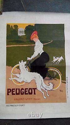 Affiche ancienne originale vélo Peugeot signée Thor Publicité