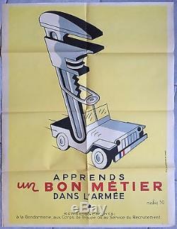 Affiche ancienne propagande APPRENDS UN BON METIER DANS L'ARMEE Jeep Maky 1950