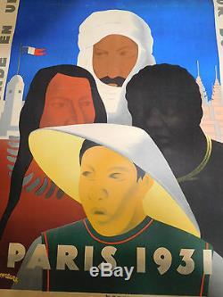Affiche ancienne publicitaire originale. Exposition coloniale 1932 Paris