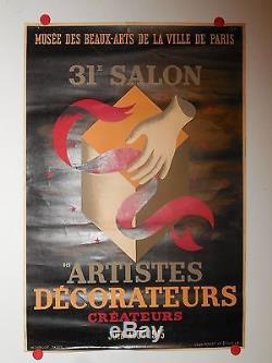 Affiche ancienne salon des artistes decorateurs Paris par Picart Ledoux 1945