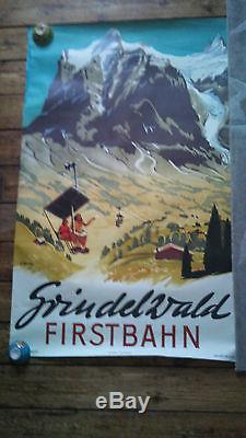 Affiche ancienne suisse, grindelwald, firstbahn, koller, a. Trub&cie aarau, 102x64cm