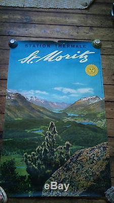 Affiche ancienne suisse, st moritz, orell fussli, photo steiner, 102x64cm