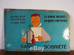 Affiche ancienne sur plaque de métal par FORE, Santé sobriété métro