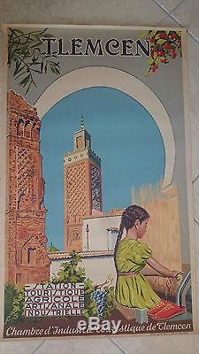 Affiche ancienne tlemcen station touristique agricole artisanale alger