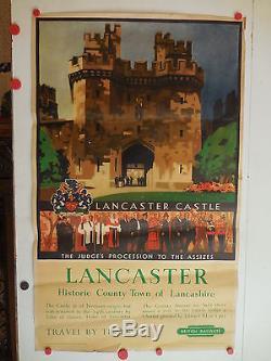 Affiche ancienne tourisme Lancaster Castle British Railway par Leslie Carr