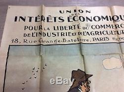 Affiche ancienne union des interets economiques / paysan/ agriculture