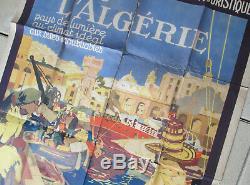Affiche ancienne visitez algerie l cauvy imp baconnier alger advertising poster